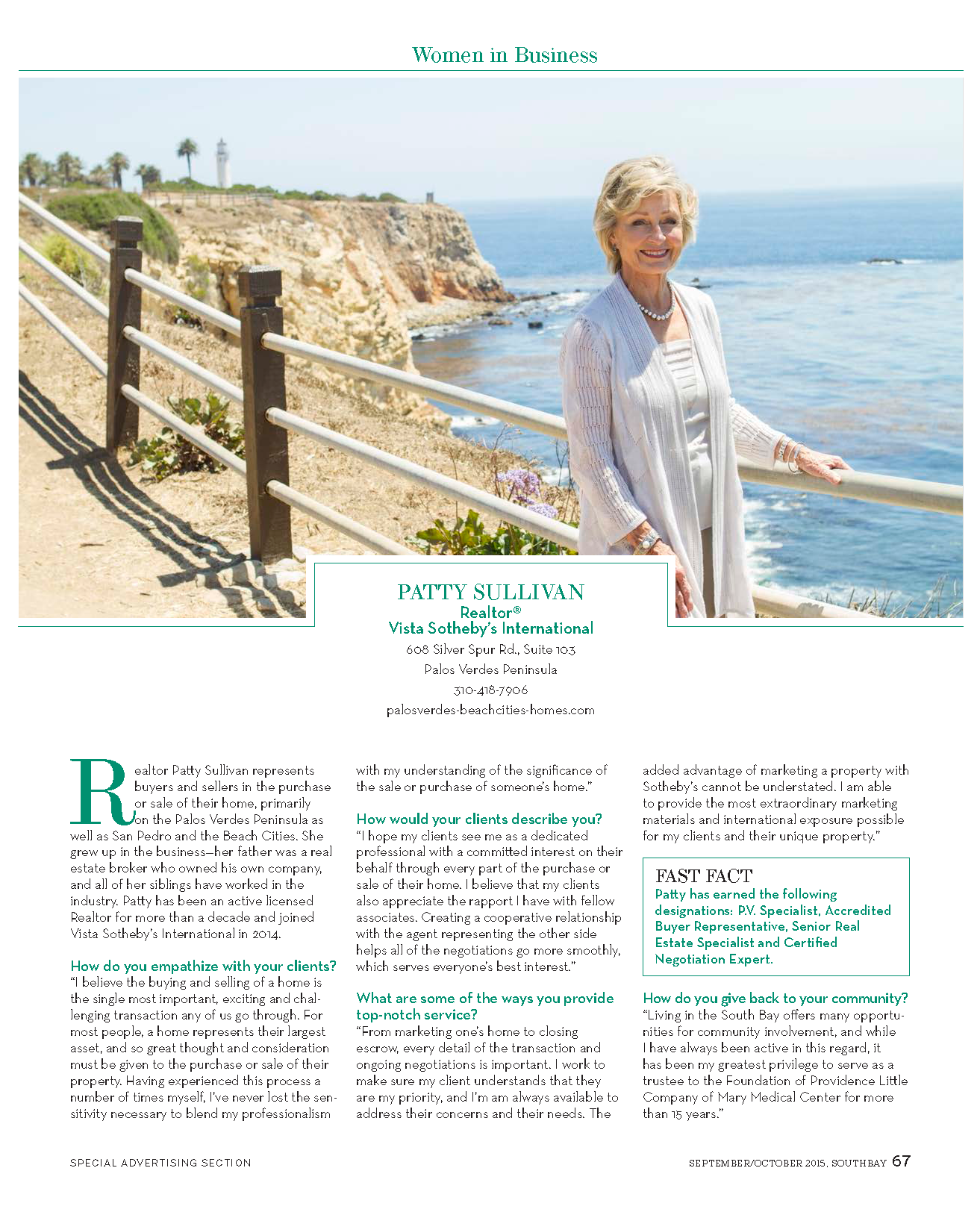 Patty Sullivan Women in Business Profile Southbay Magazine Fall 2015