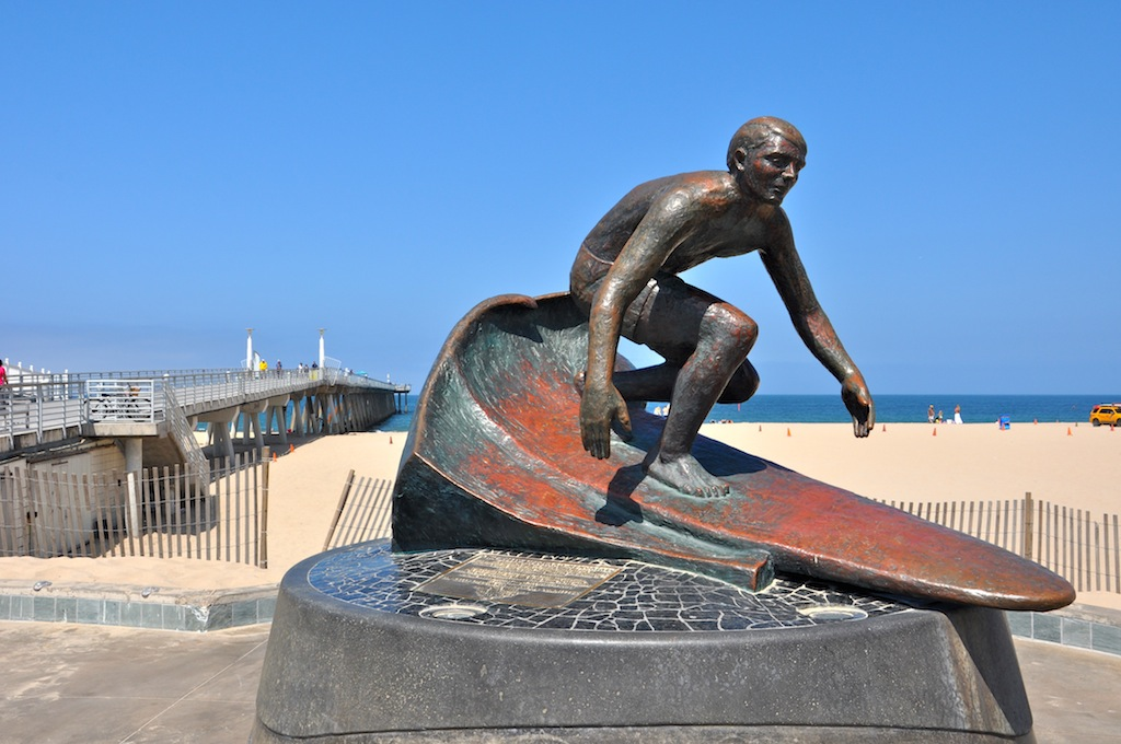 Hermosa Beach Pier Surfer Statue
