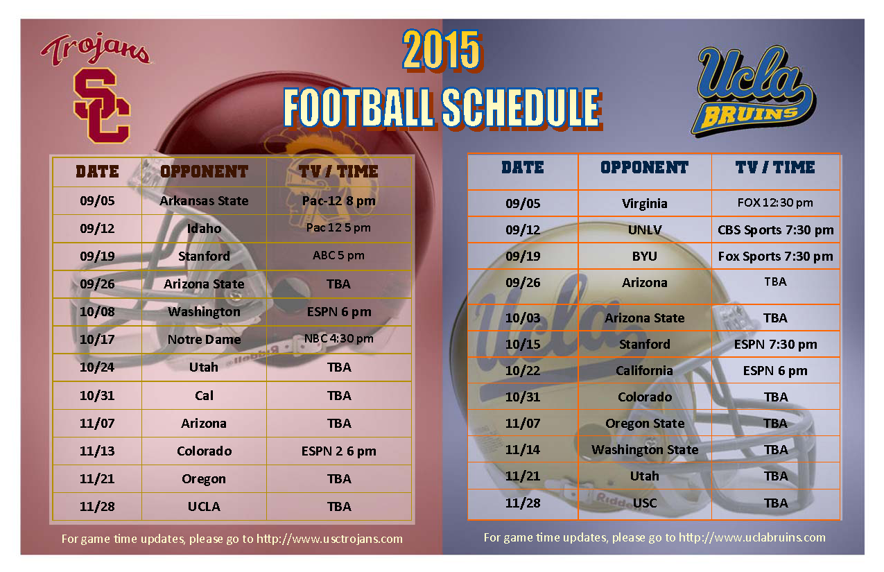 Ucla Calendar.Usc Ucla 2015 Fall Football Schedule