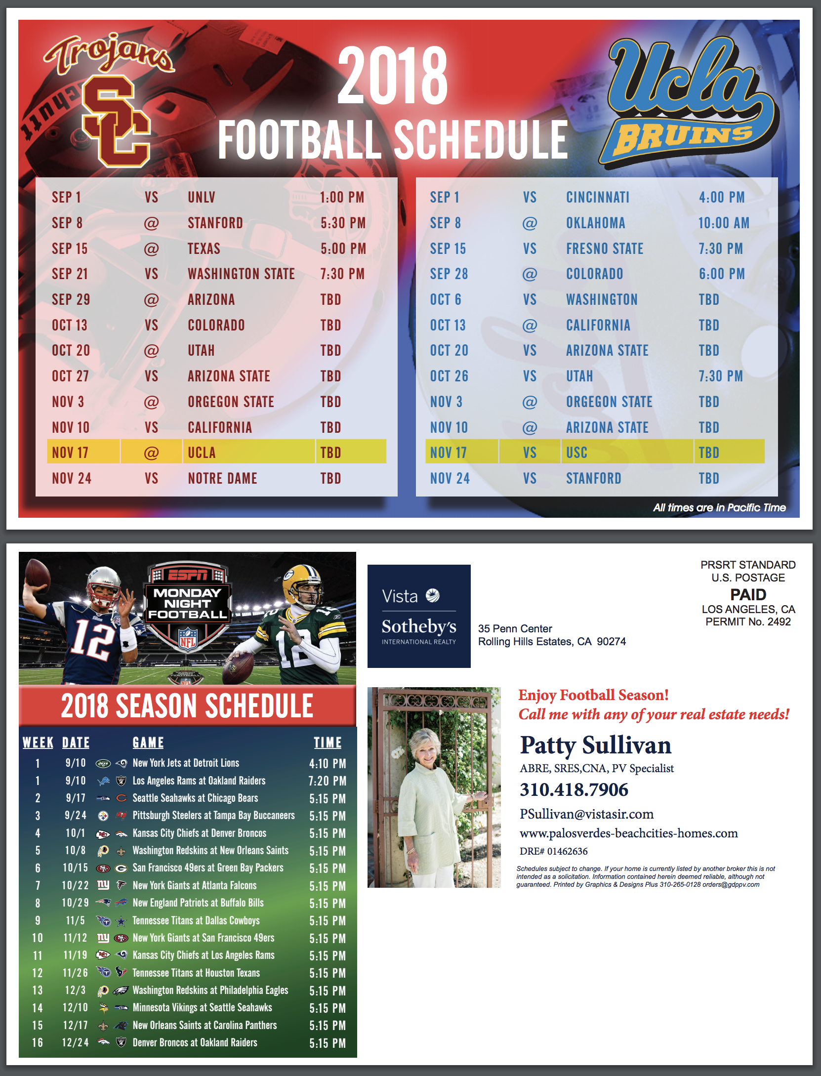 2019 Usc Football Schedule USC & UCLA & Monday Night Football Schedules for 2018 2019